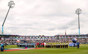 The scene is set at Edgbaston as the players line up for the anthems.