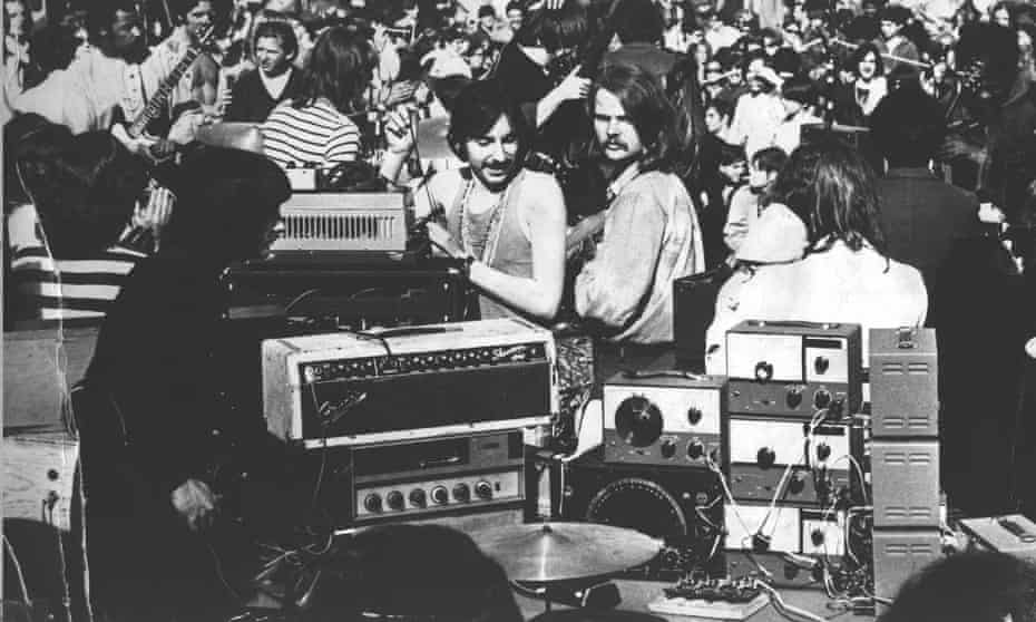 Simeon Coxe of Silver Apples. From Central Park - me trying to get my rig onstage was our first gig, 30,000 people in Central Park, New York City, 1968