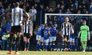 Misery for Notts County as Chesterfield celebrate after scoring their third goal in Sunday's win. County face two promotion rivals over the Easter period.