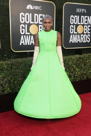 Presenter Cynthia Erivo fizzed in this atomic apple-green Valentino haute couture dress. The opera gloves truly made the outfit sing.