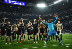 Ajax players celebrate thier victory