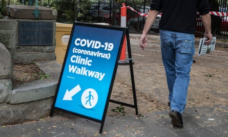 A sign to the coronavirus clinic at Royal Prince Alfred hospital