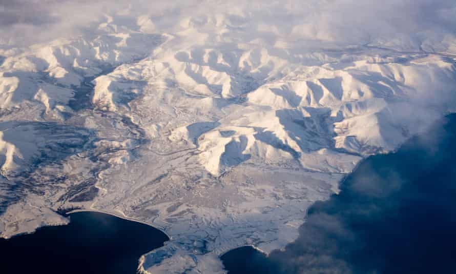 Aerial view of frozen land in the North Pole