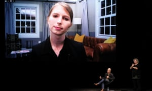 Chelsea Manning (speaking via video call) with Peter Greste at Antidote at Sydney Opera House on 2 Septemb