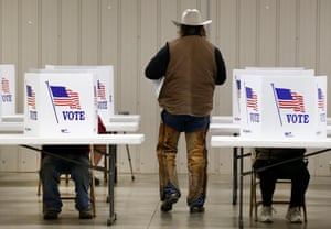 Cottonwood Falls, KansasA voter walks back to table with his ballet to vote at a polling location for the 2016 US presidential election at the Chase County Community Building
