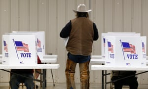 Voters at a polling station in Kansas during the 2016 election. The request has been called an attempt to 'indulge Trump's fantasy he won the popular vote'.