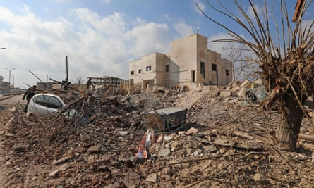 Destruction around the Udai hospital following airstrikes by government forces on the town of Saraqeb in January.