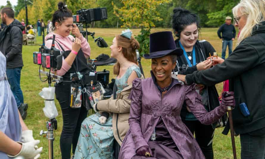 Phoebe Dynevor and Adjoa Andoh on the set of the hugely popular Bridgerton.