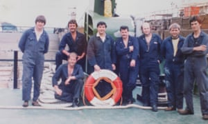 Andrew Eastman pictured with colleagues about 40 years ago onboard a ship he helped to build at Appledore