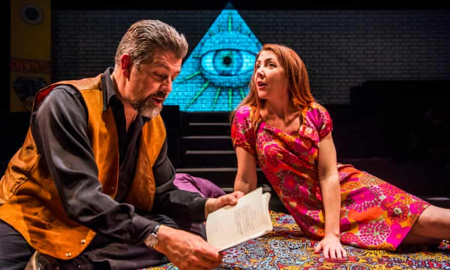 Oliver Senton as Robert Anton Wilson and Kate Alderton as Arlen Wilson in Daisy Campbell's play Cosmic Trigger.