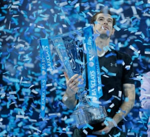 2016: Murray is showered with ticker tape after his win over Novak Djokovic at the year-ending ATP World Tour Finals at the O2 Arena