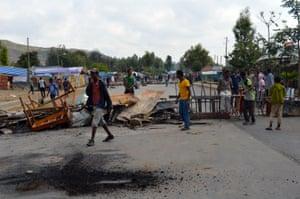 Protesters block a road in Wolenkomi
