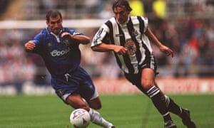 David Ginola cruises past Chelsea's Gavin Peacock in Newcastle's 2-0 victory in September 1995.