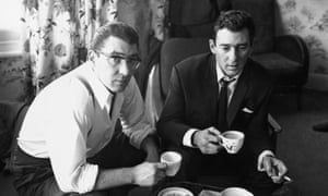 Ronnie and Reggie Kray at home, after being questioned by the police about the murder of George Cornell