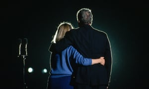 Hillary and Bill Clinton embrace during a victory rally in St Louis, Missouri, on the night he was elected United States president in 1992.