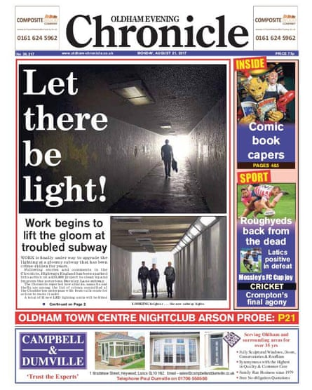 An edition of the Oldham Evening Chronicle from last month