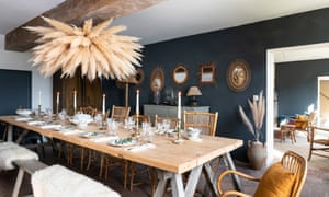 Come dine with me: wood from the old roof was made into a 16-seater dining table.