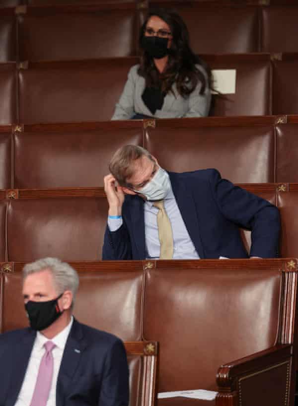 Kevin McCarthy, Jordan and Lauren Boebert listen to Joe Biden's address to Congress, in April.