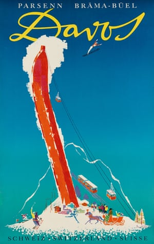 A Davos poster designed by the award-winning Donald Brün (1909-99) and dates to c.1956
