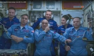 Christopher Cassidy, Anatoly Ivanishin and Ivan Vagner with Andrew Morgan, Oleg Skripochka and Jessica Meir aboard the International Space Station