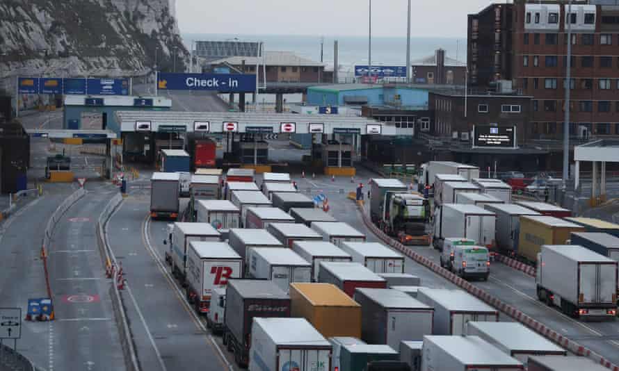 Lorries queue at Dover port.