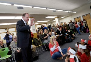 Governor Jared Polis, greets children at Greenlee Elementary School during a Full-Day Kindergarten event.