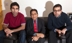 Gogglebox stars Sid Siddiqui (centre) flanked by his sons Baasit (left) and Umar