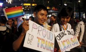 LGBT activists at a street demonstration in Hanoi, Vietnam