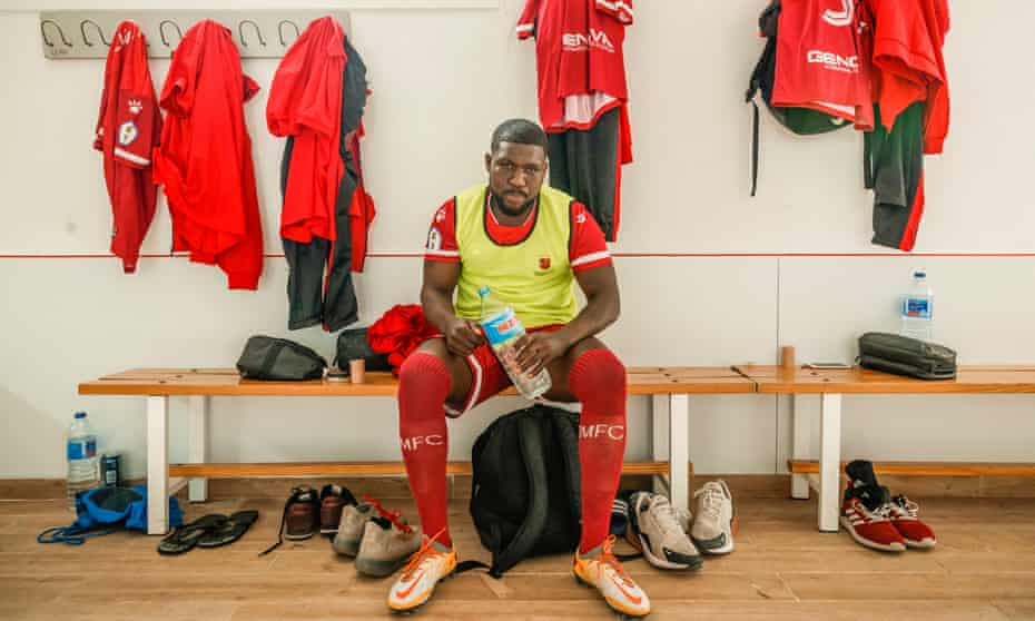 Royston Drenthe in the dressing room of his new team, Racing Murcia, in Spain's Tercera Division