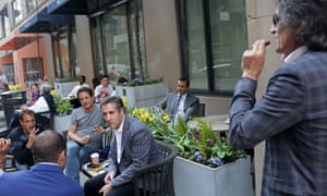 Jerry Rotonda, center back row wearing a tie, pictured with Michael Cohen, center, and friends near the Loews Regency hotel on Park Ave on Friday in New York City.