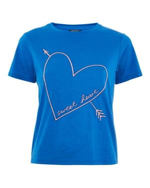 Wear your heart on your t-shirt Channel the Beatles' lyrics: all you need is love. Topshop's royal blue tee is an instant mood lifter and an easy layer to wear under dresses or slip on with a pair of tailored trousers. T-shirt, Topshop.com, £45.