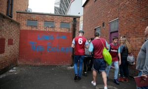 West Ham United fans at Upton Park before the final match at the old Boleyn Ground in May 2016, when Manchester United were beaten 3-2.