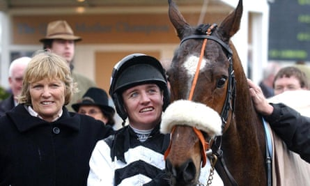 Jessica Harrington (left) with Barry Geraghty and Moscow Flyer after winning the Queen Mother Champion Chase at the Cheltenham Festival in 2005.