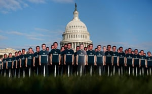 A protest ahead of Mark Zuckerberg's appearance before Congress in April.