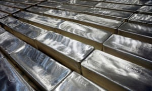 Silver bars are pictured in Silver Bullion's vault in Singapore