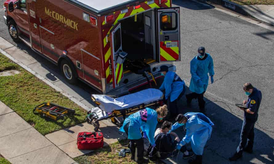 Los Angeles county paramedics administer oxygen to a potential Covid-19 patient in Hawthorne, California, one of the states where the new variant has been detected.
