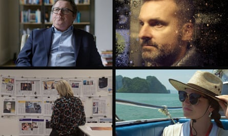 Scenes from The Great Hack, clockwise from top left: Julian Wheatland, former chief operating officer at Cambridge Analytica; New York media professor David Carroll; Cambridge Analytica's ex-director Brittany Kaiser; Carole Cadwalladr at work on her award-winning story in the Observer office.