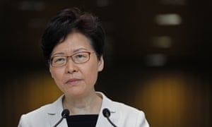 Carrie Lam, Hong Kong chief executive, listens to a question at a media conference about the protests