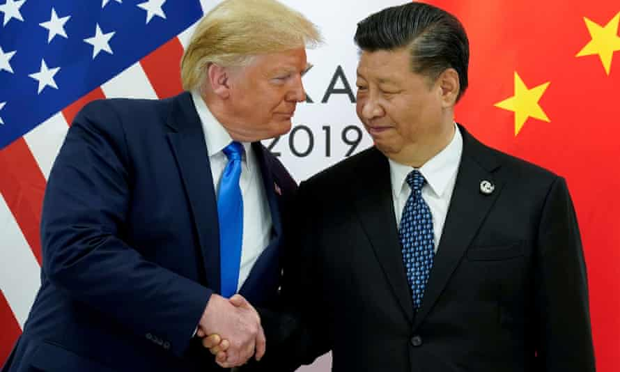 Donald Trump and Xi Jinping at the start of their meeting at the G20 leaders summit in Osaka, Japan