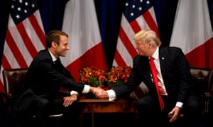 Donald Trump meets Emmanuel Macron in New York, in September 2017.