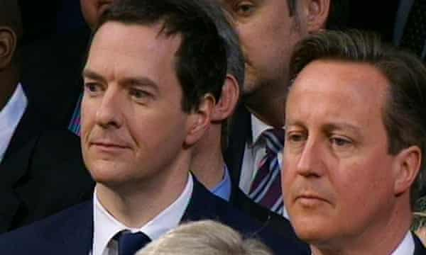 George Osborne and David Cameron listen to the Queen's speech.