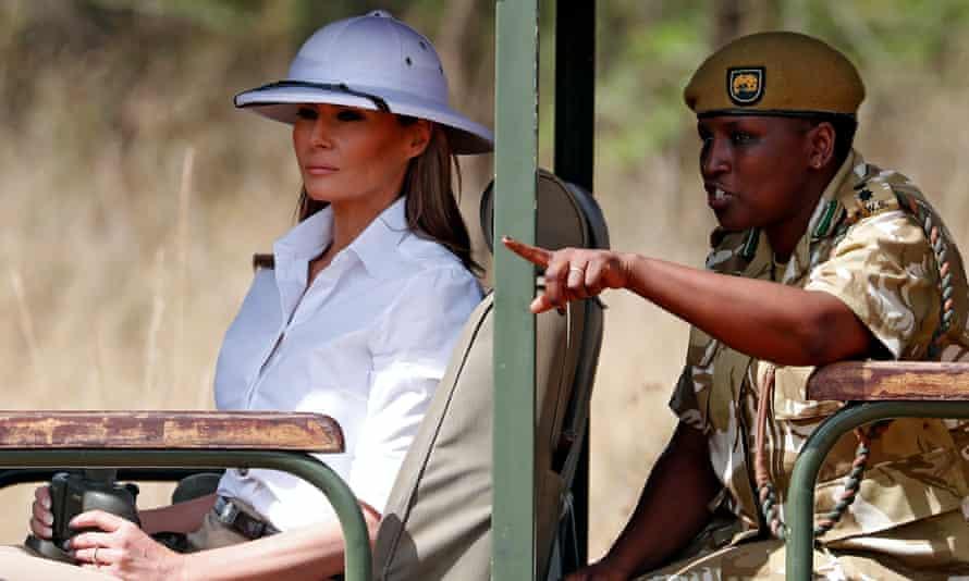Melania Trump wears a pith helmet on safari in Nairobi, Kenya.