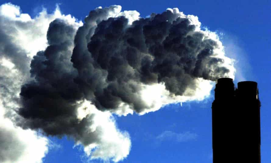 A coal fired plant generating power