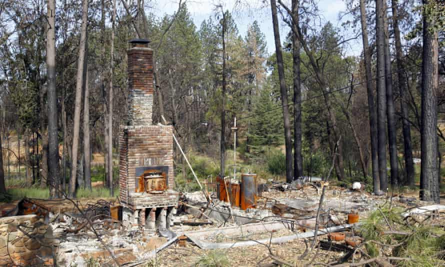 The remains of a house destroyed by the 2018 Camp Fire in Paradise, California.