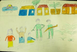 Drawing by a 12-year-old Rohingya refugee that shows military personnel firing at women and houses.