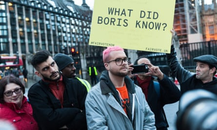 Shahmir Sanni and Chris Wylie at a demonstration in Parliament Square on 29 March, 2018, the year anniversary of triggering article 50.