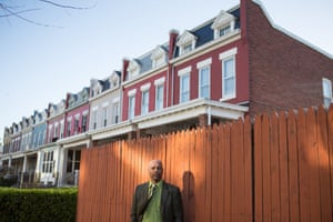 Chris Turner poses for a portrait in his childhood neighborhood of Northeast Washington, D.C.