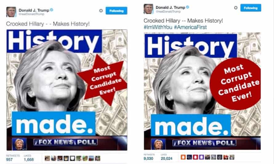 A tweet depicting Hillary Clinton and a six-pointed star