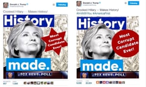 A tweet depicting Hillary Clinton and a six-sided star that Trump deleted from his account followed by its replacement, which uses a circle.