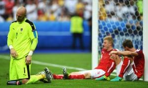 Goalkeeper Robert Almer and his Austrian team-mates Martin Hinteregger and Florian Klein are gutted.